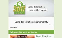 Newsletter Réflexologie Centre de formation Elisabeth Breton décembre 2016